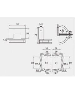 Wetroom Shower Screen Hinge / Bracket - Glass to Glass HC204