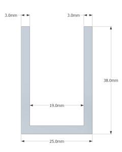 (38mm) 3 Meter Glass Partition U channel (Black)
