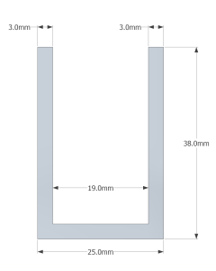 (38mm) 3 Meter Glass Partition U channel (White)