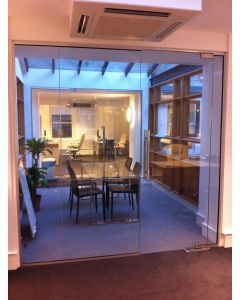 used glass partition 3 panels and 1 door