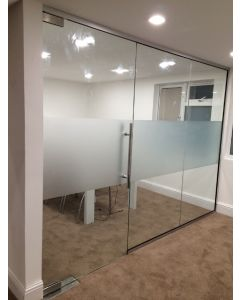 10mm USED GLASS PARTITION -2218mmx3000mm 3 Panels & 1 Door-Nationwide delivery