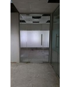 glass partition door with side panels