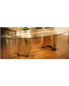 2400mm x 1400mm x 10mm Oval table top with bevelled edges and packaging