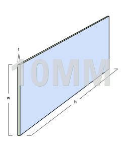 Glass Partitioning 10mm Toughened Glass Panel (2590mm x 250mm x 10mm)
