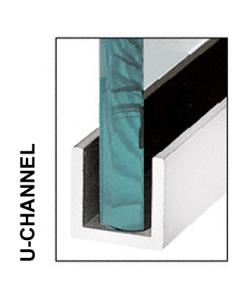 (60mm) 3 Meter Glass Partition U channel (Black)